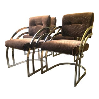 Vintage 70s Milo Baughman Style Gold Toned Chrome Dining Chairs--Set of 4 For Sale