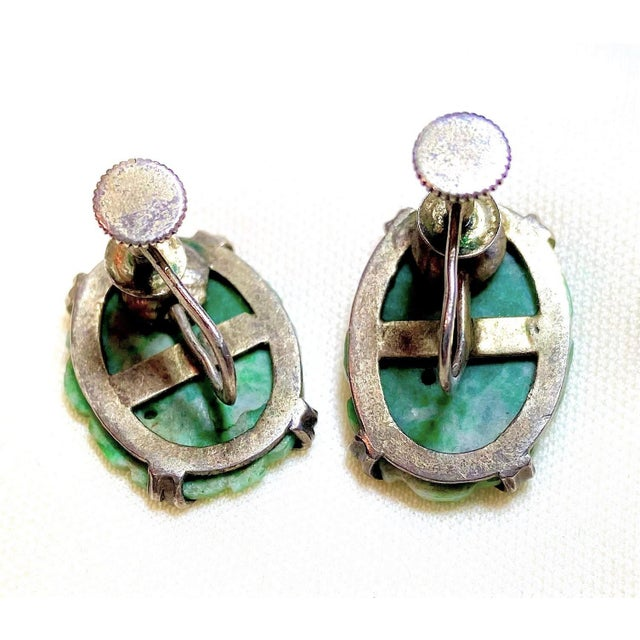 1930s 1930s Carved Jade and Sterling Screw Back Earrings For Sale - Image 5 of 7