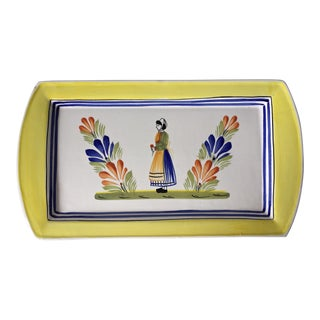 French Henriot Quimper Hand-Painted Tray