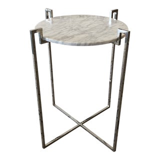 New Marble + Nickel Side Table by Worlds Away For Sale