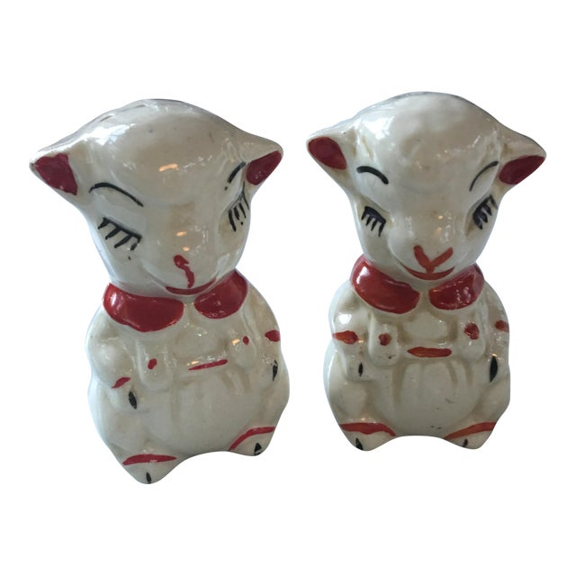 Vintage Red Collared Lamb Salt & Pepper Shakers For Sale