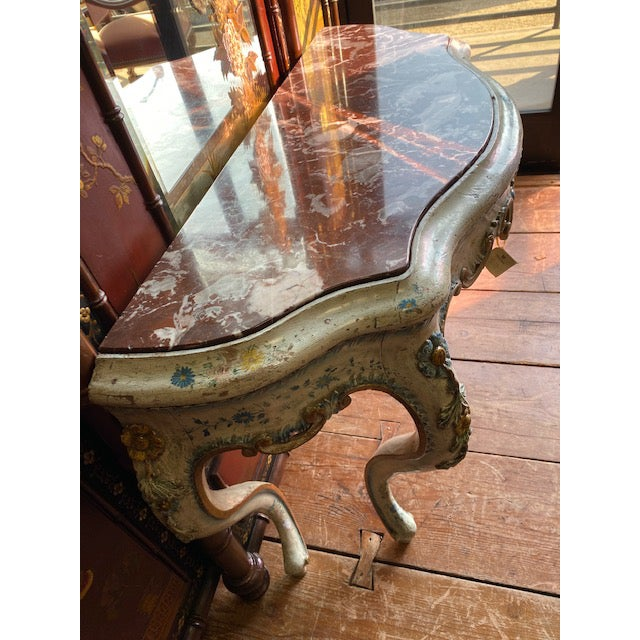 19th C. Venetian Painted White and Blue Console For Sale In Los Angeles - Image 6 of 13