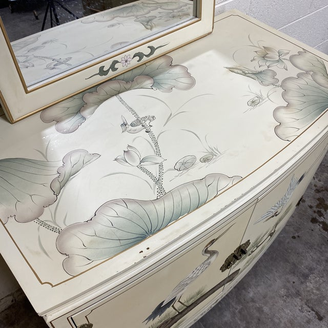 2010s Hand Painted Asian Style Chest With Matching Mirror For Sale - Image 5 of 12