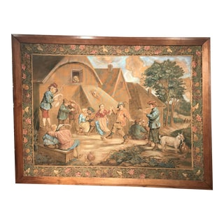 Large 19th Century French Hand-Painted Framed Canvas after David Teniers For Sale