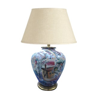 1970s Folk Art Raoul Dufy-Esque Table Lamp For Sale