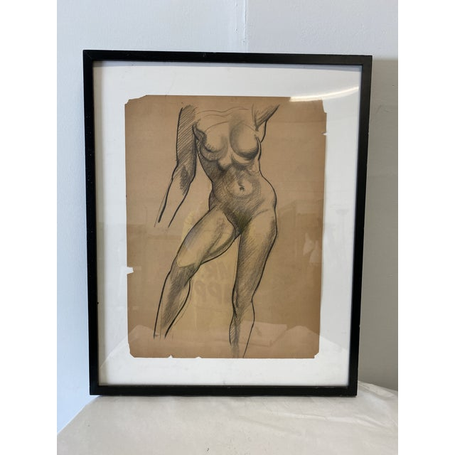 """Female Figure, Standing pose, Nude on paper by artist William Richardson Miller. (1917-2003) Actual drawing on 24""""x 18""""..."""