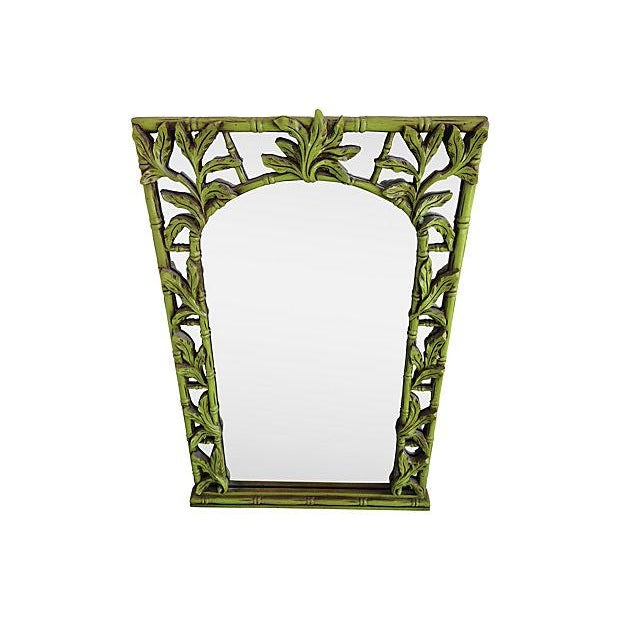 Green Serge Roche-Style Palm Bamboo Mirror - Image 2 of 4