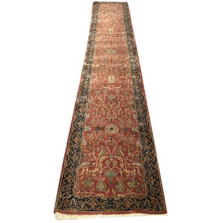 1950s Vintage Indian Loristam Hallway Runner Rug - 2′6″ × 14′8″ For Sale