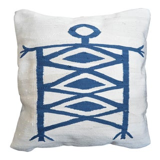 Hand Woven Silk Pillow Cover African Illustration Style Pillow - 17″ X 17″ For Sale
