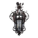 Image of Spanish Wrought Iron Lantern, Circa 1900 For Sale