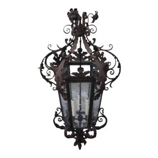 Spanish Wrought Iron Lantern, Circa 1900 For Sale