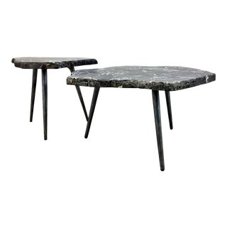Arteriors Modern Black Stone Tashi Bunching Cocktail Tables Set of Two For Sale