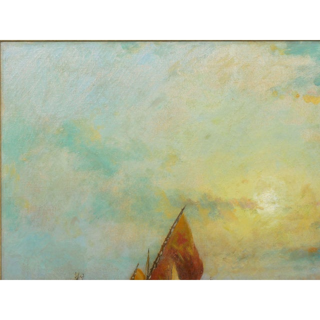"""Nautical """"View of Venice"""" Antique Oil Painting by Nicholas Briganti (American, 1861-1944) For Sale - Image 3 of 13"""