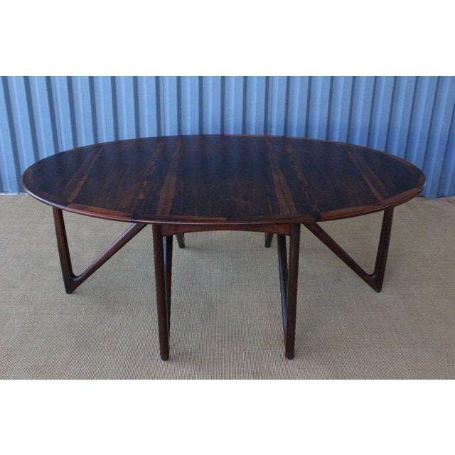 Mid Century Niels Koefoed Rosewood Gate Leg Dining Table, Denmark, 1960s For Sale - Image 10 of 12