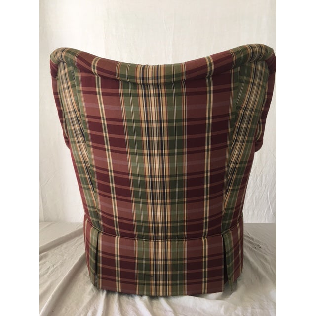 Fabric Sherrill Plaid Accent Chair For Sale - Image 7 of 8