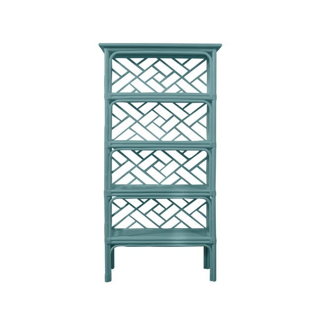 David Francis David Francis Furniture for Chairish Chippendale Etagere, Aegean Teal For Sale - Image 4 of 4