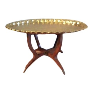 Vintage Oval Moroccan Brass Tea Table With Spider Legs For Sale