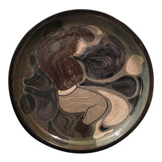 """Modern """"African Man"""" Art Pottery Plate For Sale"""