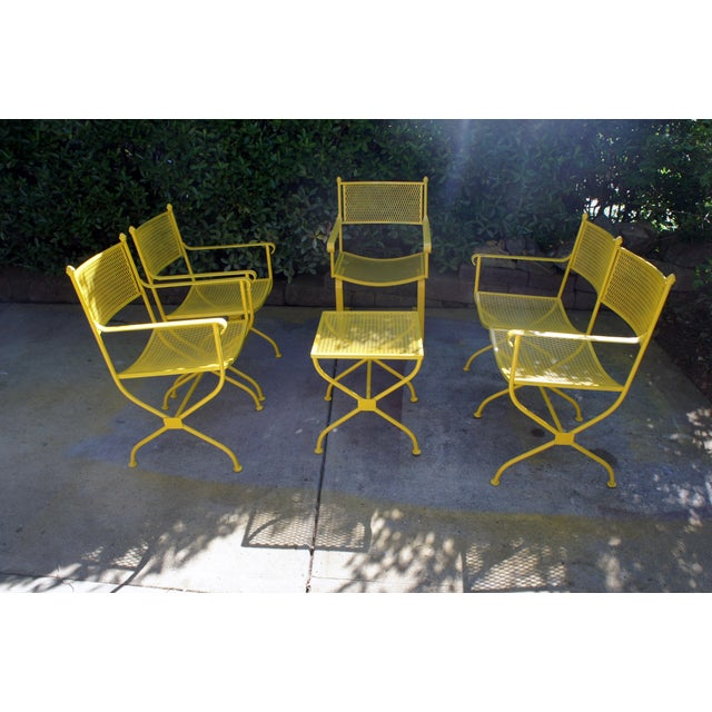Here comes the sun! Vintage buttercup yellow wrought iron conversation group patio furniture set inspired by French...