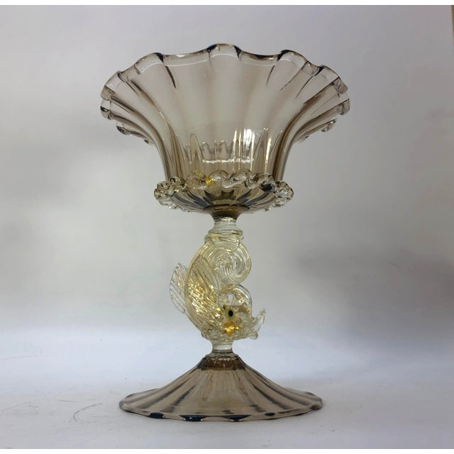 Asian 1970s Murano Glass Fish Compote Bowl Vase For Sale - Image 3 of 6