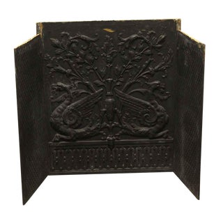 Antique Ornate Black Cast Iron Fire Back For Sale