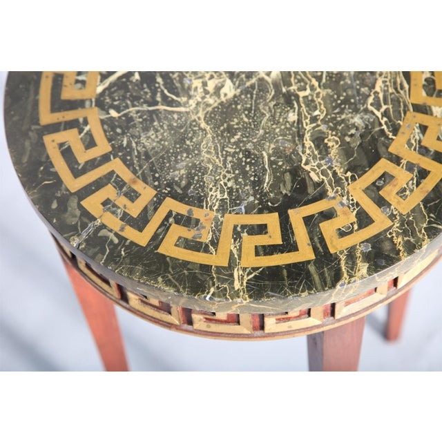 Greek Key Carved Accent Table - Image 3 of 10