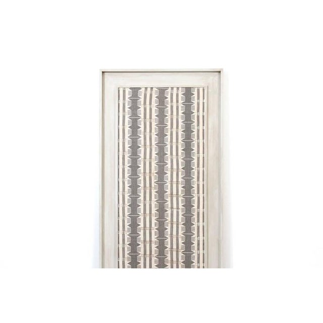 Impressive large scale Modernist textile in custom frame. This woven piece is reminiscent of work by Jack Lenor Larsen and...