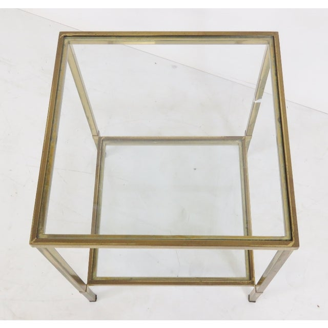 Mid-Century Modern Brass & Glass Side Table - Image 3 of 4