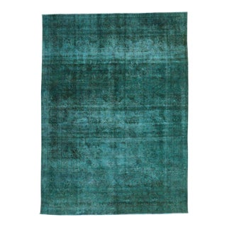 Distressed Overdyed Teal Persian Rug with Modern Style For Sale