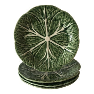 Set of (4) Green and White Cabbage Dessert Plates For Sale
