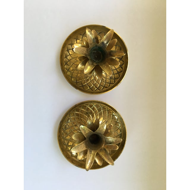 Vintage Brass Pineapple Candle Holders - A Pair For Sale - Image 4 of 4