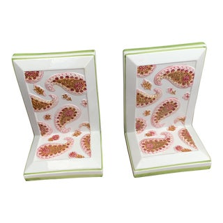Vintage Italian Majolica Pink Paisley Ceramic Bookends - a Pair For Sale