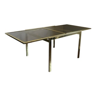 1970s Milo Baughman Dia Brass Glass Extension Dining Table For Sale