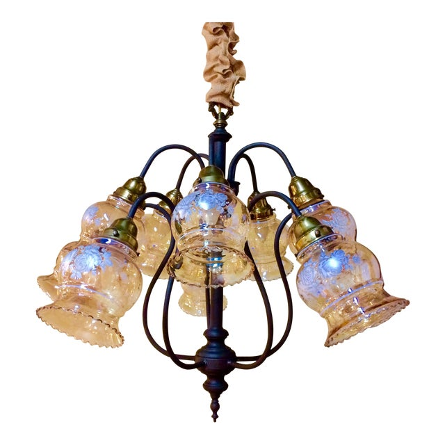 10-Arm Glass Shade Chandelier - Image 1 of 5