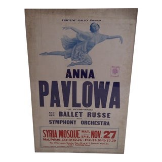 """Anna Pavlowa"" Vintage Ballet Show Poster For Sale"