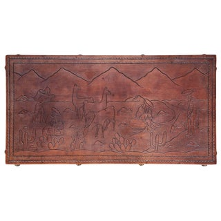 Peruvian Tooled Leather Bench / Coffee Table With South American Landscape For Sale