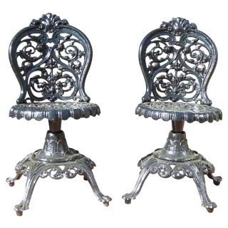 Garden Chairs: Cast Iron Pr Swivel Chairs For Sale