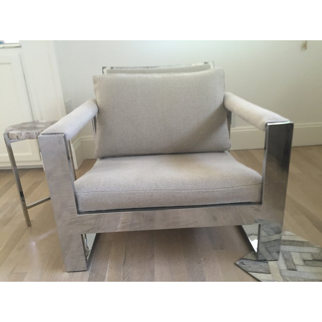 Vintage Belgian Linen & Chrome Chair - Image 2 of 5