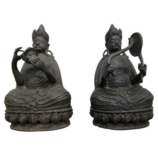 Pair Bronze Buddha Statues For Sale - Image 10 of 10
