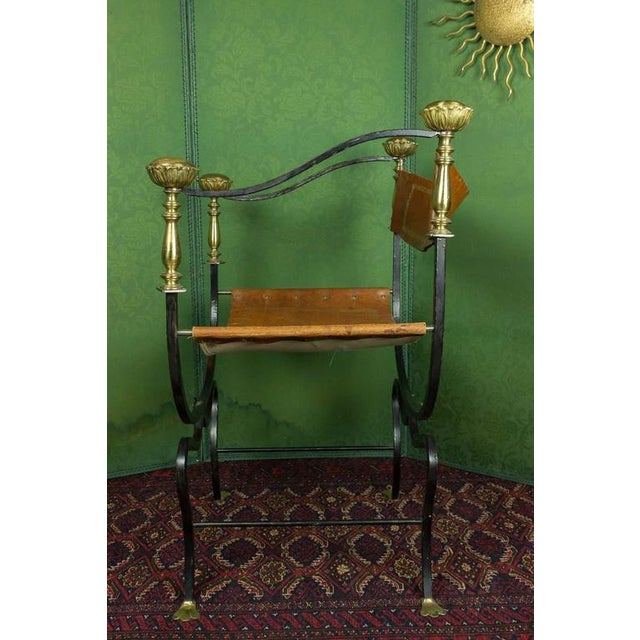 Chestnut 20th Century Italian Iron Campaign Chair For Sale - Image 8 of 11