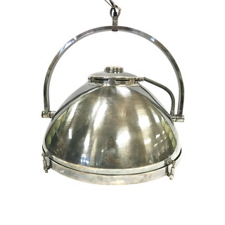 1970s Industrial Stainless Steel Hanging Pendant Light Fixture