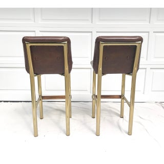 Hollywood Regency Brown Leatherette Brass and Wood Barstools - a Pair Preview