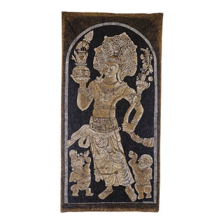 Vintage Buddhist Themed East Asian Silk Tapestry Rug For Sale