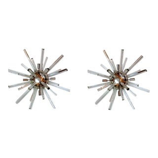 Mid-Century Modern Murano Glass Sputnik Wall Sconces Lights, Circa 1960 - a Pair For Sale