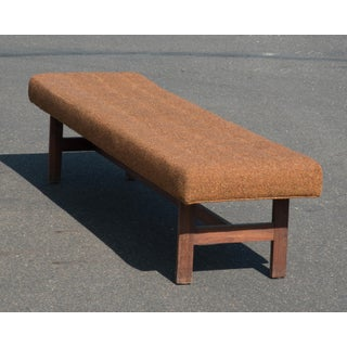 Mid-Century Upholstered Walnut Bench After Jens Risom Preview