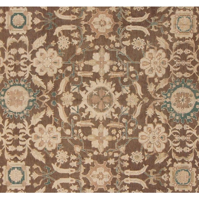 "Traditional Kafkaz Peshawar Shalonda Brown & Ivory Wool Rug - 12' x 13'9"" For Sale - Image 3 of 7"