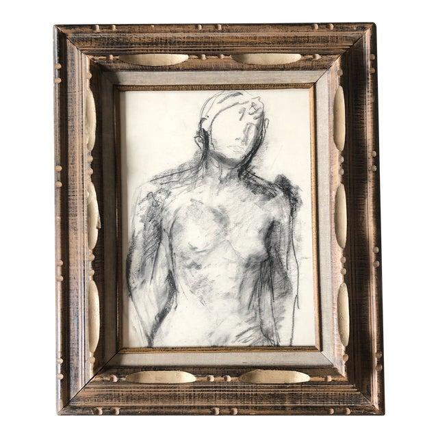 Vintage Original Female Nude Charcoal Study Drawing Vintage Carved Wood Frame For Sale