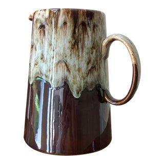 Mid Century Canonsburg Ironstone Drip Glaze Pottery Circa 1960 - 36 Oz. Pitcher For Sale