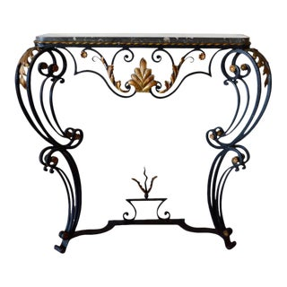 Louis XV Style Hand-Forged Black Wrought Iron Console For Sale