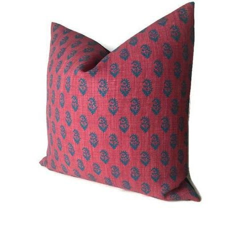 Red & Blue Rajmata Pillow Cover For Sale - Image 4 of 4
